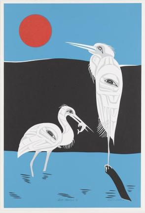 Full Moon Egret, pair