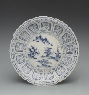 Dish with foliated rim and Chinese landscape