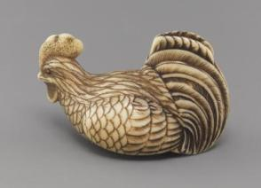 Netsuke modeled as a rooster