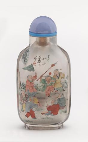Inside-painted snuff bottle with children playing with lanterns and staging a play