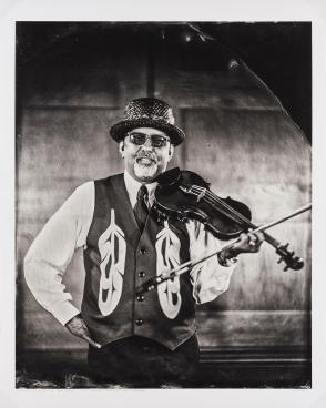 Talking Tintype, Swil Kanim, Violinist, Citizen of the Lummi Nation, from the series Critical Indigenous Photographic Exchange: dᶻidᶻəlalič