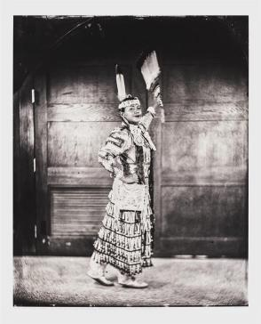 Talking Tintype, Madrienne Salgado, Jingle Dress Dancer/Government and Public Relations Manager for the Muckleshoot Indian Tribe, Citizen of the Muckleshoot Nation, from the series Critical Indigenous Photographic Exchange: dᶻidᶻəlalič