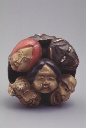 Lacquered Wood Ryusa Netsuke Carved as Nine Noh Masks