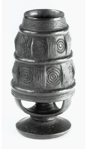 Cup in form of a Bushong drum with pedestal base