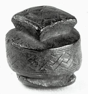 Bongotool Sculpture Representing a Basket with a Lid