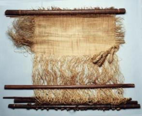 Single Heddle Loom with Unfinished Weaving