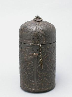 Cylindrical box with domed cover