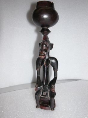 Seated Female Figure with Bowl on Head:  Sandogo Society Divination Figure