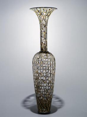 Yellow and black mosaic vase