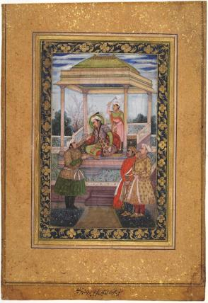 Emperor Jahangir in pavilion with attendants