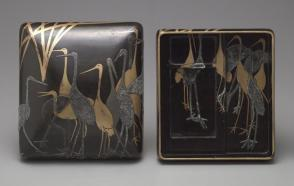 Writing box decorated with cranes in reeds