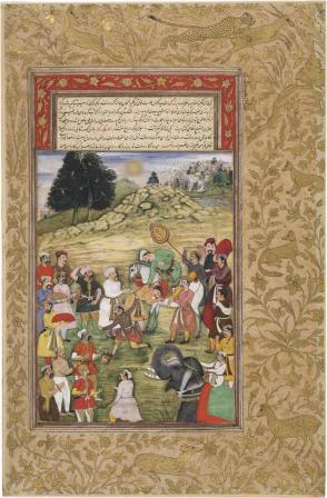 Akbar on horseback receiving homage