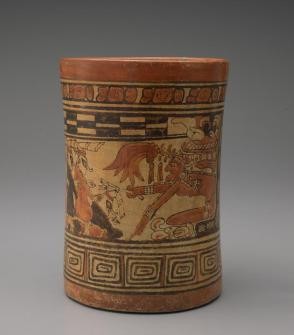 Cylinder vase depicting scribes in the Underworld
