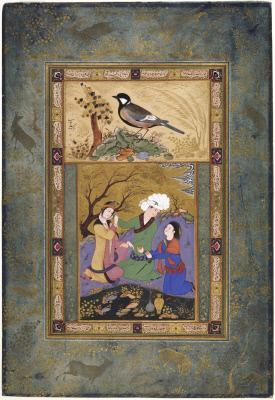 A White-eared Bulbul; Lovers in a Garden