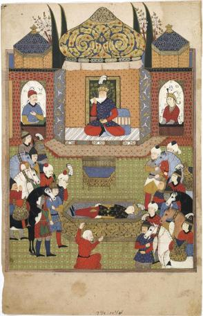 Mourning scene, perhaps the death of Iskandar (Alexander the Great)