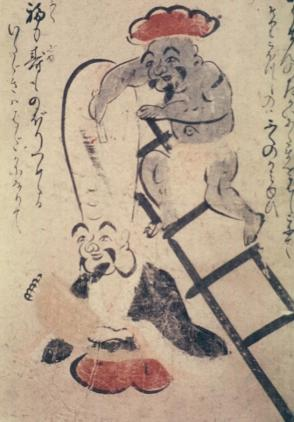 Geho Hashigo Zuri (Daikoku, God of Wealth, Shaving Head of Fukurokuju, God of Longevity)