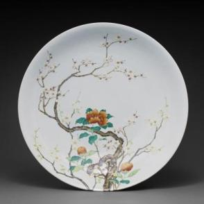 Dish with camellia and flowering plum