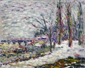 Winter Landscape on the Banks of the Seine