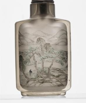 Inside-painted snuff bottle with riverscape
