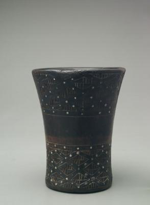 Kero (drinking cup) inlaid with silver studs