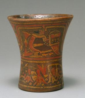 Kero (drinking cup) with figure presenting textiles