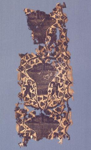 Tapestry Fragment, Vertical Band, Figures and Grape Vines
