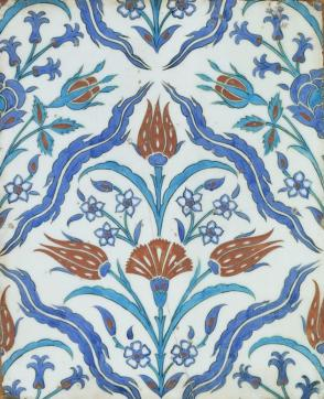 Tile with floral design