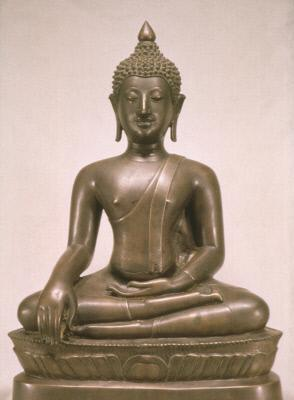 Seated Buddha in earth-touching gesture (mudra)