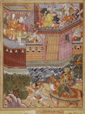 Hamza and Umar exchange insults with Ghazanfar and challenge him to battle outside the fortress of Armanus