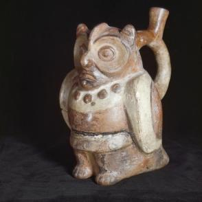 Stirrup spout vessel with anthropomorphic owl