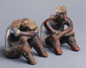 Man and woman, seated pair:  man