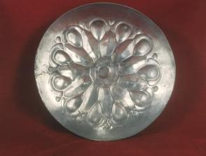 Ceremonial silver bowl in form of lotus flower