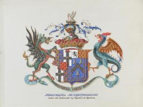 "Armorial Achievement: ""Degenerante Genus Opprobrium,"" from the series, Examples of Illumination and Heraldry, Federal Public Works of Art Project, Region #16, Washington State"