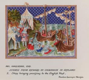 Illumination from the MS. Harleian 1319: Scenes from Richard IIs Campaign in Ireland—2. Ships Bringing Provisions to the English Host, from the series, Examples of Illumination and Heraldry, Federal Public Works of Art Project, Region #16, Washington State