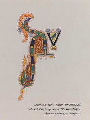 "Illumination: Initials ""AV"" from the Book of Kells, 7th-8th Century Irish Illuminating, from the series, Examples of Illumination and Heraldry, Federal Public Works of Art Project, Region #16, Washington State"