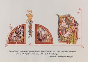 Illumination: Examples Showing Decorative Treatment of the Human Figure, from the Book of Kells, Ireland, 7th-8th Century, from the series, Examples of Illumination and Heraldry, Federal Public Works of Art Project, Region #16, Washington State