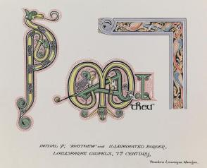 "Illumination from the Lindesfarne Gospels, 7th Century: Initial ""P,"" ""Matthew,"" and Illuminated Border, from the series, Examples of Illumination and Heraldry, Federal Public Works of Art Project, Region #16, Washington State"